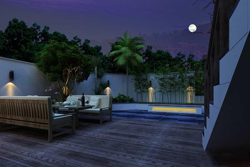 供人娛樂的古典別墅后花園夜景