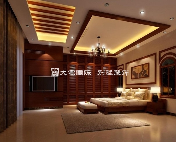 全景展示别墅卧室室内设计效果