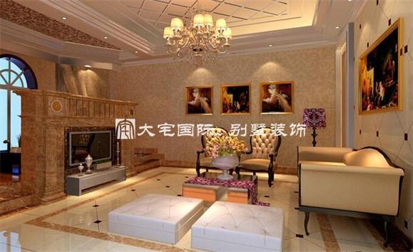 欧式别墅客厅装修效果图上最惹眼的壁炉设计