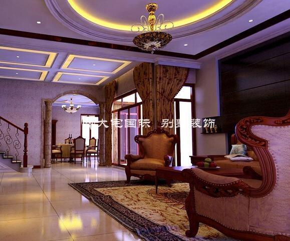 欧式别墅客厅装修效果图上欧式圆拱门的设计