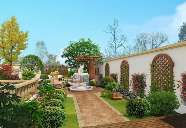 联排别墅装修景观和水系设计