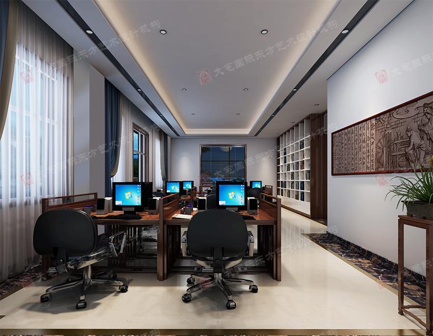 三号办公楼一层办公大厅效果图