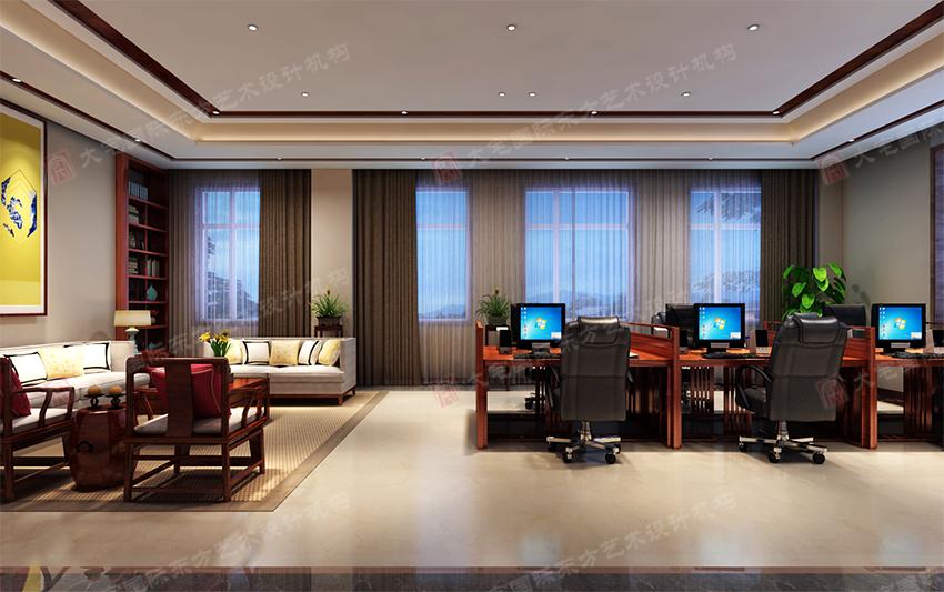 首页 设计案例 欧式风格  办公大厅清新素朴,简约风的办公桌和书柜